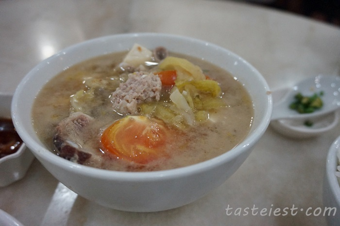 Salted Vege mixed pork soup